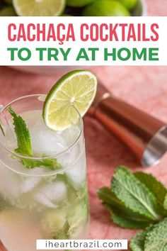 Cachaca Cocktails, Cocktail Bitters, Mojito Cocktail, Refreshing Cocktails, Summer Drinks, Caipirinha Recipe, Mojito Recipe, Easy Drink Recipes, Cocktail Recipes