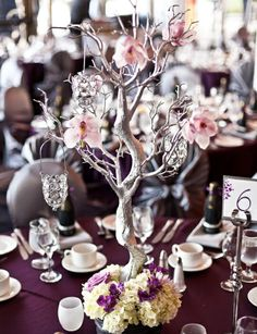 Embellish a Sangria Satin Tablescape with Silver Manzanita Trees