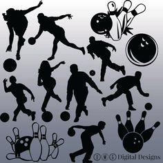 12 Bowling Silhouette Images Digital Clipart by OMGDIGITALDESIGNS