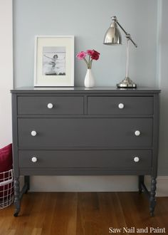 color for nursery dresser? Gray dresser with white knobs