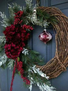 Christmas Wreaths - Holiday Wreath - Winter Wreath - Holiday Decorations - Wreaths for Door - Etsy Wreaths - Wreath - Wreaths by HomeHearthGarden on Etsy Noel Christmas, Rustic Christmas, All Things Christmas, Winter Christmas, Christmas Ornaments, Elegant Christmas, Christmas Movies, Etsy Wreaths, Holiday Wreaths