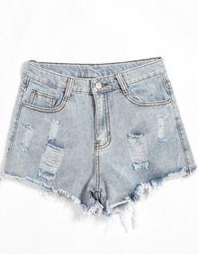 Blue Pockets Ripped Denim Shorts