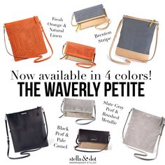 Waverly Petite Stella & Dot Now in 4 colors! Fall 2015! The slate gray works perfectly with a larger bag and slips right into the pocket! www.stelladot.com/sarahbethstembridge
