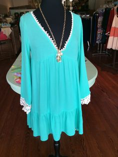 Turquoise Crochet Trim Dress