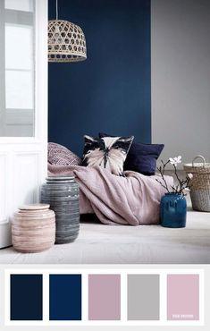 Pink and blue bedroom navy blue mauve and grey color palette color inspiration pink blue white bedroom Navy Bedrooms, Small Bedrooms, Bedroom Black, Blue And Pink Bedroom, Master Bedrooms, Pink Grey, Navy Master Bedroom, Blue Gray Bedroom, Pink Brown