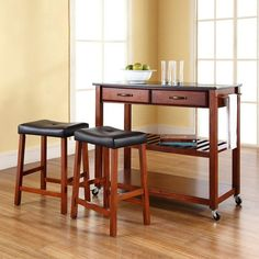 "Crosley Furniture KF300544CH Solid Black Granite Top Kitchen Cart/Island in Classic Cherry Finish With 24"" Cherry Upholstered Saddle Stools"
