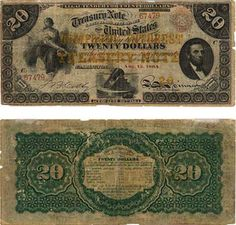 """Union Interest-Bearing Note, 1864- -To finance the war, the Union authorized the first issue of paper money by the government since the Continentals. These 'demand notes' were printed for about a year in $5, $10, and $20 denominations, redeemable in coins on demand, and green in color — (which is where the phrase """"greenbacks"""" comes from). About $10 million in notes were issued. These notes, and all paper money issued since 1861, are still valid and redeemable in current cash at face value."""
