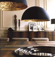 Haute Design by Sarah Klassen: Sumptuous Spaces / Paris lighting blackandgold gilded - Model Home Interior Design Decoration Inspiration, Interior Design Inspiration, Room Inspiration, Decor Ideas, Gold Interior, Interior And Exterior, Black Exterior, Luxury Interior, Lighting Design