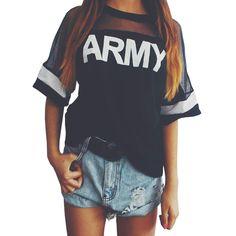 Black Army Letter Print Tshirt