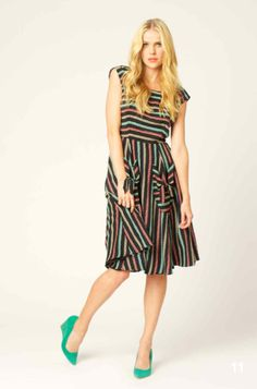 Striped dress and brighter shoes are a must with this :)