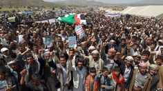 Houthi's supporters continue to rally near Sanaa to demand the overthrow the government of Yemen