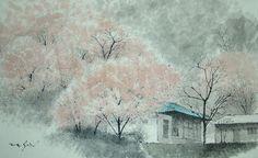 가을풍경 겨울이야기 90*60 작품 작품 가을풍경 가을풍경 이가을에 감나무가 있는 풍경 가로 162cm* 세로 75cm 구정 시골 산북리