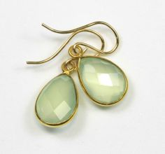 Chalcedony Earrings Pale Green Faceted Drop 14k gf gold Bezel Set Dangle