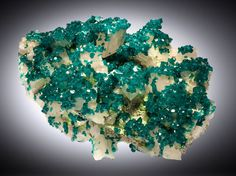 Dioptase on Calcite, Tsumeb Mine, Namibia. This and more important minerals and gems for sale on CuratorsEye.com