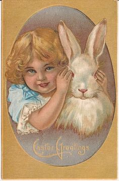 Little Girl Covering Rabbits Eyes Easter Greetings Postcard Victorian