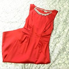 Cache red body con dress This dress will make you Stand out from the crowd! Fits like a body con and cinched at the waist in front and back for a figure flattering look. The color is a pure red and material is satin, with just enough sheen. Doesn't fit me anymore  hits me at knee length and I'm 5'3. Cache Dresses