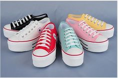 Women Canvas Platform Sneakers Tennis shoes Black/White/Red/Blue/Pink/Yel US 6~8