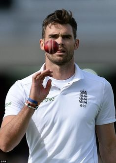 Top man: Jimmy Anderson will be gunning for Sir Ian Botham's record as he sits just eight . (He's very pretty) Cricket Tips, Test Cricket, Cricket Sport, Live Cricket, England Cricket Team, England Players, Ian Botham, Fast Bowling, Ricky Ponting