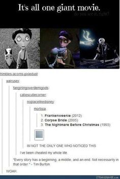 Tim Burton movies scare the crap out of me, but this is pretty cool<<Are you kidding me? Tim Burton Movies are awesome! Disney And Dreamworks, Disney Pixar, Disney Animation, Haha, Funny Memes, Hilarious, Funny Quotes, To Infinity And Beyond, Disney Memes
