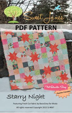 Sweet Jane's Starry Night Downloadable PDF Quilt Pattern<BR>Sweet Jane's Quilting and Design
