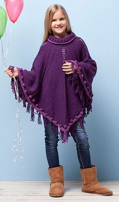 modele poncho tricot 8 ans Poncho Crochet, Hippie Bohemian, Child Models, Turtle Neck, Couture, Knitting, Sweaters, Capes, Dresses