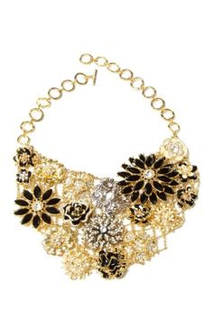 Greenport Crystal Bib Necklace by Top Trend: Black & Gold Jewelry on @HauteLook