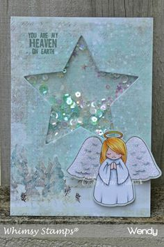 I've used a beautiful digital paper for this creation from Whimsy Stamps digital paper set called Accents of Winter. The sweet Angel is also from Whimsy Stamps. It's part of a set called Christmas Accessories created by Whimsy Stamps artist Crissy Armstrong.