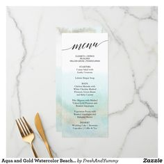 Aqua and Gold Watercolor Beach Dinner Menu Card Printed Wedding Menus, Wedding Menu Cards, Beach Wedding Reception, Destination Wedding, Rehearsal Dinner Menu, Lobster Bisque Soup, Beach Dinner, Beach Watercolor, Wedding Desserts