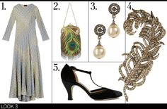 Downton Abby  (1) Missoni Graziella crochet-knit gown, $2,745; thecorner.com;(2) Whiting & Davis Mesh Evening bag, $205;marissacollections.com;(3) R.J. Graziano Cream pearl drop earrings, $85;stylebop.com;(4) Carolee Style Icons feather brooch, $130;houseoffraser.co.uk;(5) Repetto Baya pump, $310;gravitypope.com