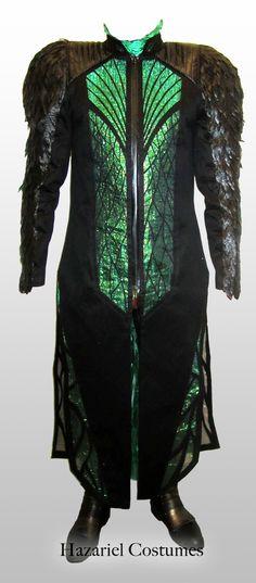 Fantasy costume, black and green handmade and unique.