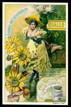 "cigcardpix Liebig S662 - Yellow  Liebig's Beef Extract ""Colours of the Rainbow"" Italian edition, 1901."
