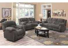 Gray Reclining Sofa and Console Loveseat,Coaster Furniture