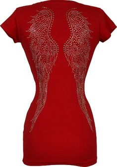 V-neck Tee Cotton T-shirt Top Studded Crystal Angel Wings Junior Plus Size, 3X, Red PacificPlex,http://www.amazon.com/dp/B0052GJSR8/ref=cm_sw_r_pi_dp_CwPJsb1TG0T66KF1