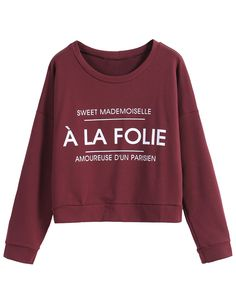 Letters Print Crop Wine Red T-Shirt
