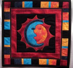 Sun and Moon Art Quilt Wall Hanging by heartofautumn on Etsy