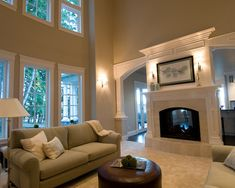 Two Sided Fireplace Design, Pictures, Remodel, Decor and Ideas - living/family room wall Two Sided Fireplace, Home Fireplace, Fireplace Design, Fireplaces, Fireplace Molding, Double Fireplace, Slate Fireplace, Fireplace Mantels, Family Room Walls