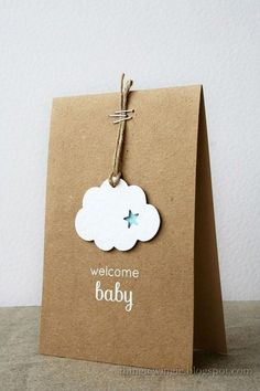 DIY Packaging: Such sweetness! This fluffy cloud simply hung on a cord with staples speaks volumes to welcome your little one! White embossing powder adds a bit of sparkle to this handmade baby card. Handgemachtes Baby, Karten Diy, New Baby Cards, New Baby Gifts, Gift Packaging, Packaging Ideas, Simple Packaging, Jewelry Packaging, Creative Gifts