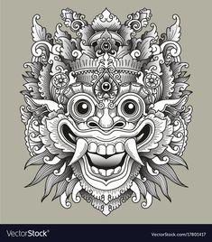 Balinese barong traditional mask vector image on VectorStock Arte Tribal, Aztec Art, God Tattoos, Body Art Tattoos, Arte Ganesha, Tattoo Japonais, Barong Bali, Tibetan Tattoo, Balinese Tattoo