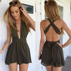 Cheap jumpsuit onesie, Buy Quality jumpsuit cotton directly from China jumpsuits designer Suppliers: rompers womens jumpsuit Bandage chiffon v-neck backless bodysuit shorts women vestidos macacao short feminino/bermuda feminina Rompers Women, Jumpsuits For Women, Long Jumpsuits, Beach Jumpsuits, Mode Outfits, Fashion Outfits, Womens Fashion, Ladies Fashion, Fashion 2014