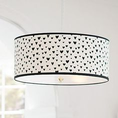 MayBaby Painted Hearts Drum Shade Pendant #pbteen