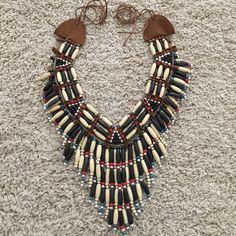 INDIAN WOODEN BEAD NECKPIECE NECKLACE NWOT New with out package Indian costume dress up necklace but also lightweight enough to be worn as a statement piece Accessories