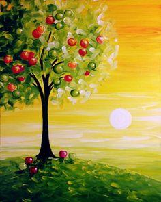 Paint Nite. Apple Sunrise