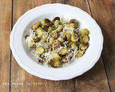 Rosenkohl, geröstet aus dem Ofen mit Honig und Parmesan