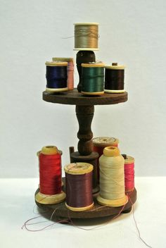 Antique Victorian Two Tiered Wooden Thread Holder including Vintage Spools of Thread  Rustic Sewing Notions by WallflowerAntiques on Etsy