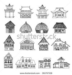 Big hand drawn set of sketch of 16 houses from different countries: chinese pagoda building, africa hut houses, german typical houses, dutch, mexican house, winter house with snow Vector stock