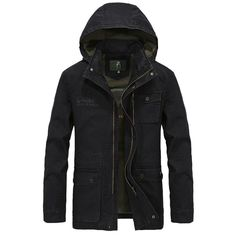 AFS JEEP New Arrival Men's Fashion Casual Army Style Hooded Jacket Cotton Stand Collar Coat militares Jackets Plus size XXXXL #Affiliate