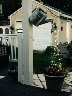 22 Unique DIY Fountain Ideas to Spruce Up Your Backyard Outdoor party. - 22 Unique DIY Fountain Ideas to Spruce Up Your Backyard Outdoor party lights using a gar - Outdoor Projects, Garden Projects, Garden Crafts, Backyard Projects, Backyard Ideas, Diy Projects, Outdoor Party Lighting, Outdoor Decor, Garden Lighting Ideas