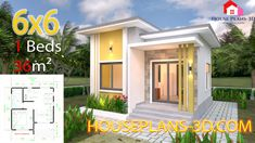 One Bedroom House Plans with Gable Roof - Tiny House Plans House Design 3d, Single Floor House Design, Villa Design, One Bedroom House Plans, One Bedroom Flat, Bedroom Modern, Simple House Plans, Tiny House Plans, House Layout Plans