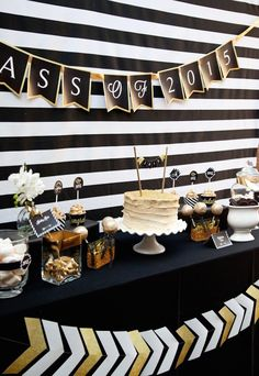 Black and Gold Graduation Party Graduation/End of School Party Ideas Photo 7 of 13 Catch My Party Graduation Party Themes, College Graduation Parties, Graduation Celebration, Graduation Decorations, School Parties, Grad Parties, Birthday Parties, Graduation Ideas, Graduation Centerpiece