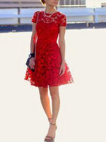 Robe évasée en dentelle manches courtes -rouge -French SheIn(Sheinside)